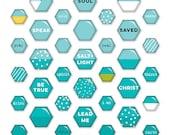 Illustrated Faith - Basics - Blue Mini Hexie - Epoxy Stickers - 53 pieces - 1524