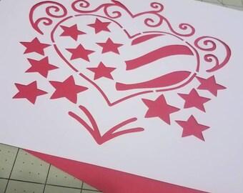American Heart Papercut