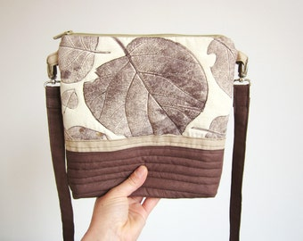 Crossbody bag with handprint leaves, Hand printed bag, Leaves stamp, Medium size handbag, Every day bag, brown bag