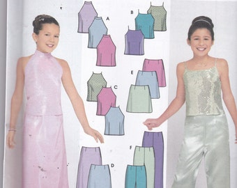 Simplicity 9729 Vintage Pattern Girls Halter or Tank Tops, Skirts In 2 Lengths and Pants Size 7,8,10,12,14,16 UNCUT
