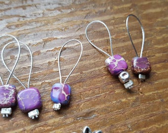 Purple stone stitch markers