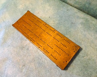Antique Victorian Edwardian English Folk Art Hand Made Copper Cribbage Game Board