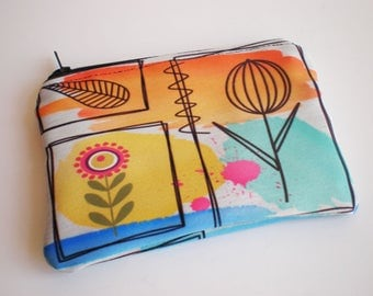 Coin purse, Small zipper pouch, Card wallet, Flower, Gift idea, Flower coin purse