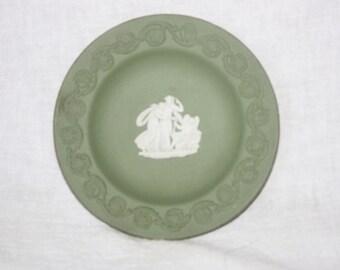 Vintage Wedgwood Green Jasperware Small Plate Cupid Sleeping