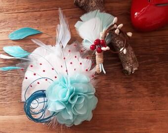 bridal fascinator & boutonniere corsagered aqua turquoise headpiece hairflower Vintage bestseller feathers wedding bridesmaid polka dots