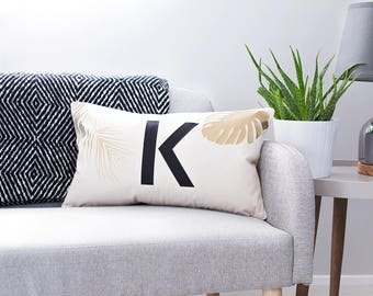 Personalised Tropical Cushion - Palm Leaf Cushion - Initial Letter Cushion - Personalised Cushion - Scandinavian Cushion - Custom Cushion