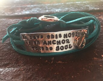 Suede wrap HOPE anchor bracelet