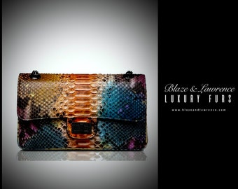 Ultimate Luxury Gift Or Accessory/Hollywood Genuine Python Leather Clutch/Genuine Snakeskin Leather Handbag Purse/2017LuxuryCollection