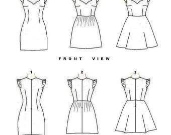 PDF Sewing Pattern- Sweetheart Neck Dress with 3 skirt Options-European Sizes 34,36,38,40,42-US Sizes 4,6,8,10,12
