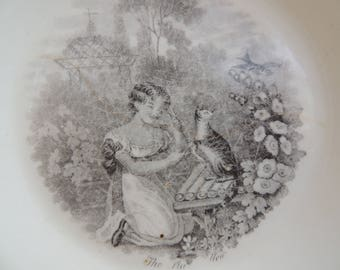 Vintage China Bowl With Charming Girl Cat & Bird In Black and White