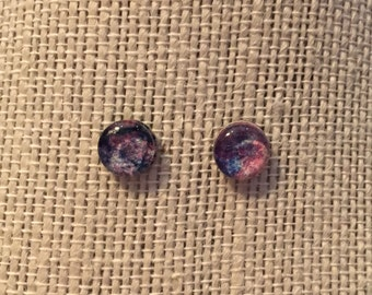 8mm Glass Purple&Blue Stud Earrings