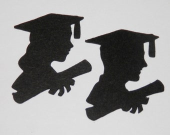 Graduation Die Cut Female or Male- 25 pieces - You choose Color, Size and Quantity