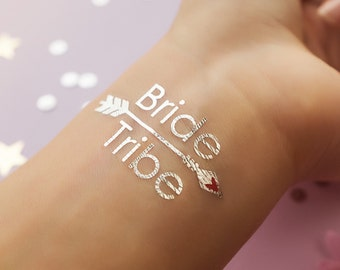 Bride Tribe Silver Metallic Temporary Tattoo   Bachelorette Party Favors   Bridesmaid Wedding Tattoo   Flash Tattoo   Hen Bridal Party Gift