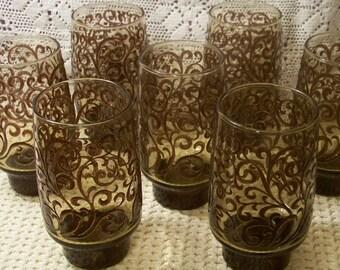 Libbey Prado Smoked Brown Glasses / Tumblers - Set Of 7