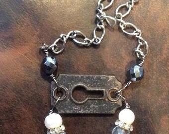 Vintage Bronze Dress Clip Necklace