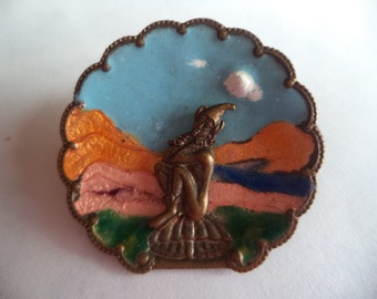 Vintage Unsigned Bronzetone/Enamel Pixie Brooch/Pin    Small