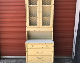 Vintage 60's Thomasville Faux Bamboo Hutch