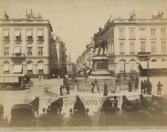 Brussels square view carriages antique albumen photo Belgium