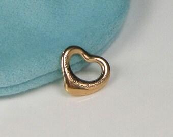 Tiffany & Co Peretti 18K Rose Gold Open Heart Pendant w Bag and Box