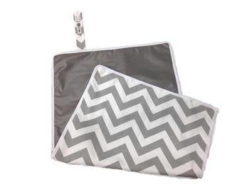 Grey Chevron Waterproof Diaper Changing Pad - Ready to Ship- Machine Washable