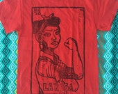 Size SMALL - La Rosa/Rosie the Riveter, Loteria/Mexican Bingo Design, Red Unisex T-Shirt, Ready to Ship