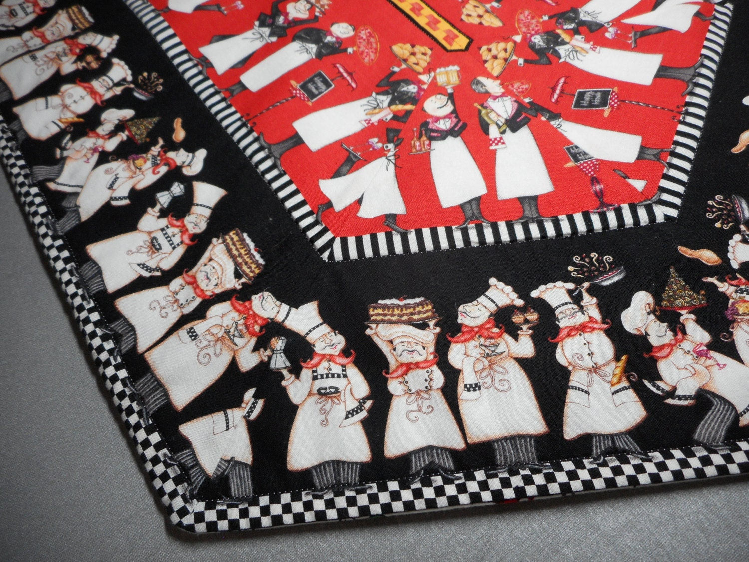Bon Appetit Chef Quilted Table Runner Dining Room Decor Parisian Red Black Kitchen Linen