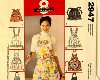 Apron  8 Looks 6 Full 2 Half All In One Pattern from McCalls 2947 One Sizes   FREE US SHIPPING
