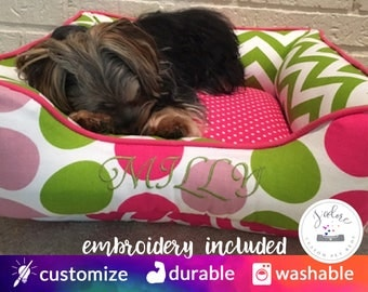 Personalized Dog Bed | Girly Dog Bed, X-Small Dog Bed, Princess Dog Bed | Green, Pink, Chevron, Polka Dot, Colorful | Design Your Own!