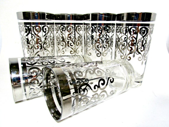 Mid Century Barware, Silver Highballs, Set of 6, Silver Scrolled Highballs, Retro Barware, Mad Men Barware, Silver Rimmed Barware Highballs