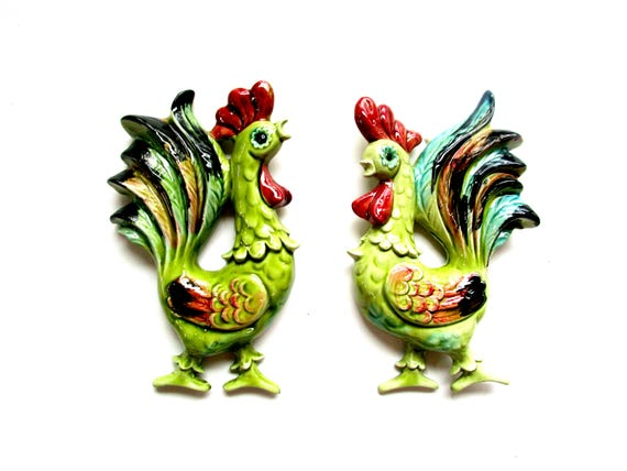 Pair of Mid Century Rooster Wall Plaques, Ceramic Rooster Wall Decor, Vintage Kitchen Decor, Rooster Decor, Farmhouse Kitchen