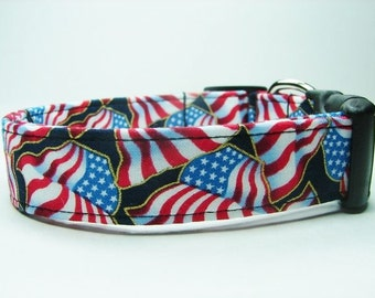 4th Of July American Flags Red, White & Blue Outlined in Gold Dog Collar