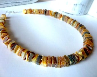 Baltic Amber Necklace , Raw Amber Necklace .