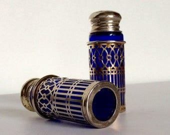 Antique Silver Cobalt Blue Glass Salt and Pepper Shaker Set