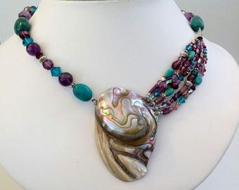 ABALONE Multi-Strand, NECKLACE, Natural Turquoise, Amethyst Crystals and Amethyst stones