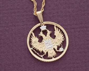 "Russian Imperial Eagle Pendant and Necklace, Russian 20 Kopeks Coin Hand Cut, 14 Karat Gold and Rhodium plated, 7/8"" in Diameter, ( # 270 )"