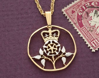 "Great Britain Rose Pendant and Necklace, British 20 Pence coin Hand Cut, 14 Karat Gold and Rhodium Plated, 1"" in Diameter, ( # 131 )"