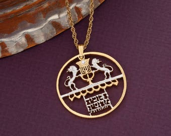"""Isreal Coin Jewelry Pendant and Necklace, Israel Five Lirot Coin Hand Cut, 14 Karat Gold and Rhodium Plated, 1 1/4"""" in Diameter, ( # 656 )"""