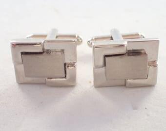 Silver Tone Geometric Design Cufflinks