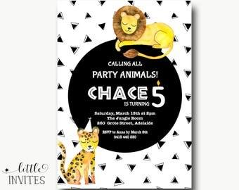 Boys Girls birthday invitation/Safari Invitation/Jungle animals invitation/zoo animals/Printable/1st/2nd/3rd/4th/5th/6th/scandinavian-Chace