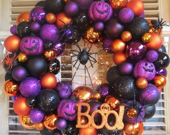 Pre-Order 2017 Halloween Ornament Wreath - Halloween Wreath - Ornament Wreath - Boo Wreath