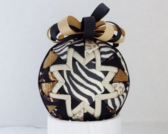 Zebra Safari Quilted Ornament Folded Fabric Decorative
