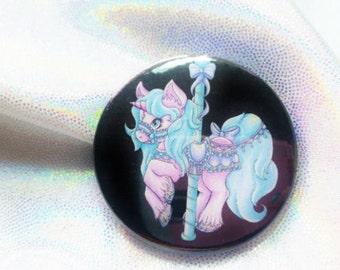 My Little Carousel 45mm badge / original illustration / kawaii art