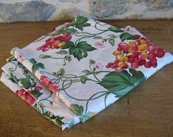 chintz fabric with pink and yellow grape pattern - unused vintage French glazed cotton fabric