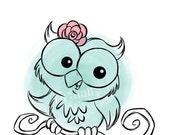 Owl - Woodland Animals Digital Stamp Art/ KopyKake Image