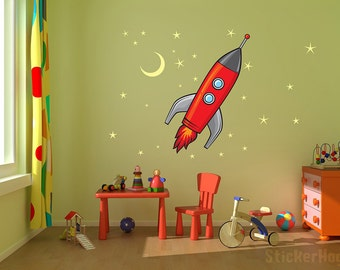"Rocket Ship, Stars and Moon kids room, nursery vinyl wall decal graphics 29x32"""