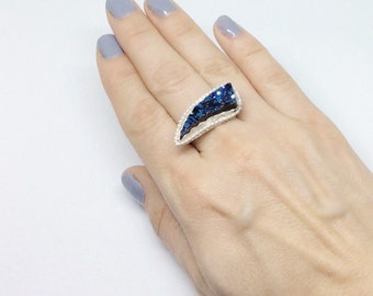 Sterling Silver Cobalt Blue Druzy Ring