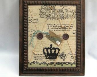 Memory board, framed padded fabric bulletin board photo/memo board