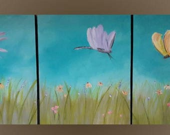 Dragonfly Painting Dragonfly Wall Art Modern Pink Purple Yellow Triptych Wall Hanging Dragonfly Home Decor Beach Cottage Painting Wall Art
