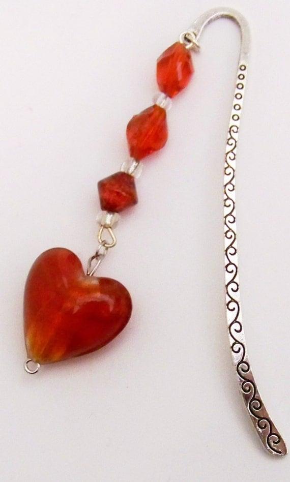 Heart and Beaded Bookmark Love to ReadHeart