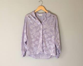 lavender leaf print blouse   silky blouse